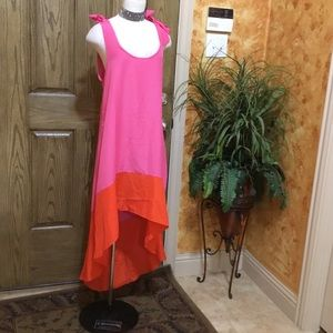 Color block high low dress